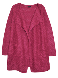 WINE Open Front Twin Pocket Knitted Cardi - Size 6 to 22