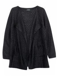 BLACK Open Front Twin Pocket Knitted Cardi - Size 10 to 22