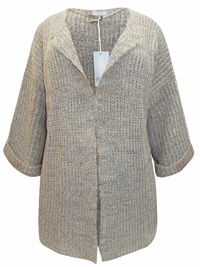 Plus TAUPE Relaxed Fit Open Front Cardigan - Plus Size 22/24 to 30/32 (EU 48/50 to 56/58)