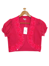 STRAWBERRY Chiffon Sleeve Sequin Corsage Bolero - Size 10 to 16 (Small to XLarge)