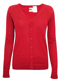 Hering RED Pure COTTON Fine Knit Summer Cardigan - Size 10 to 16 (Small to XLarge)