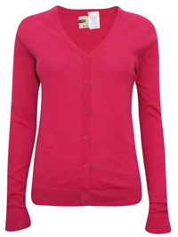 Hering FUCHSIA Pure COTTON Fine Knit Summer Cardigan - Size 10 to 16 (Small to XLarge)