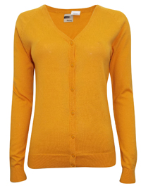 Hering MUSTARD Pure COTTON Fine Knit Summer Cardigan - Size 10 to 16 (Small to XLarge)