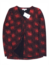 Karida Black/Red Glitter Swirl Long Sleeve Cardigan Jacket - Plus Size 12 to 26