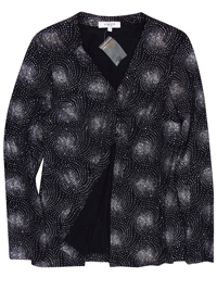 Karida Black/Silver Glitter Swirl Long Sleeve Cardigan - Plus Size 12 to 26