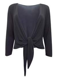 EAST Designer BLACK Jersey Waterfall Shrug - Plus Size 16 to 18