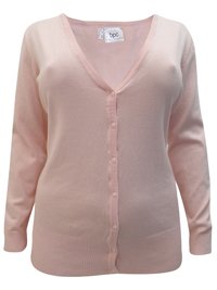 BPC Selection PINK V-Neck Button Through Knitted Cardigan - Plus Size 22/24 to 26/28