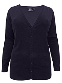 BPC Selection BLACK V-Neck Button Through Knitted Cardigan - Plus Size 14/16 to 26/28