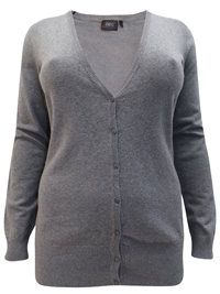 BPC Selection LIGHT-GREY V-Neck Button Through Knitted Cardigan - Plus Size 14/16 to 26/28