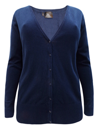 BPC Selection NAVY V-Neck Button Through Knitted Cardigan - Size 14/16 to 26/28