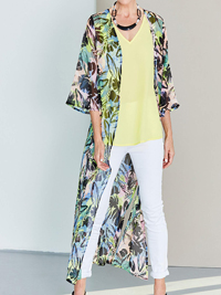 LabelBe TROPICAL Palm Print Longline Duster Kimono Cover-Up - Size 10 to 32