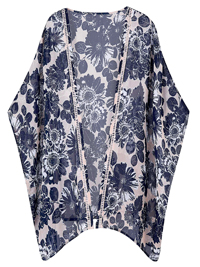 Capsule NAVY Floral Print Ladder Trim Kimono Cover-Up - Plus Size 8/10 to 28/30