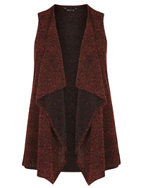 AMY K. Orange Rust Boucle Knit Waterfall Waistcoat - Plus Size 16 to 26