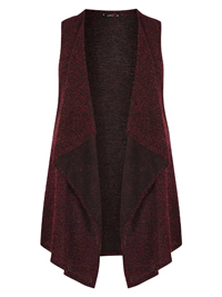 AMY K. Red Boucle Knit Waterfall Waistcoat - Plus Size 16 to 22