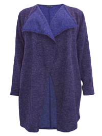 Curve PURPLE Marl Longline Open Front Cardigan - Plus Size 18 to 30/32