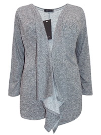 Curve GREY Open Front Waterfall Cardigan - Plus Size 18 to 30/32