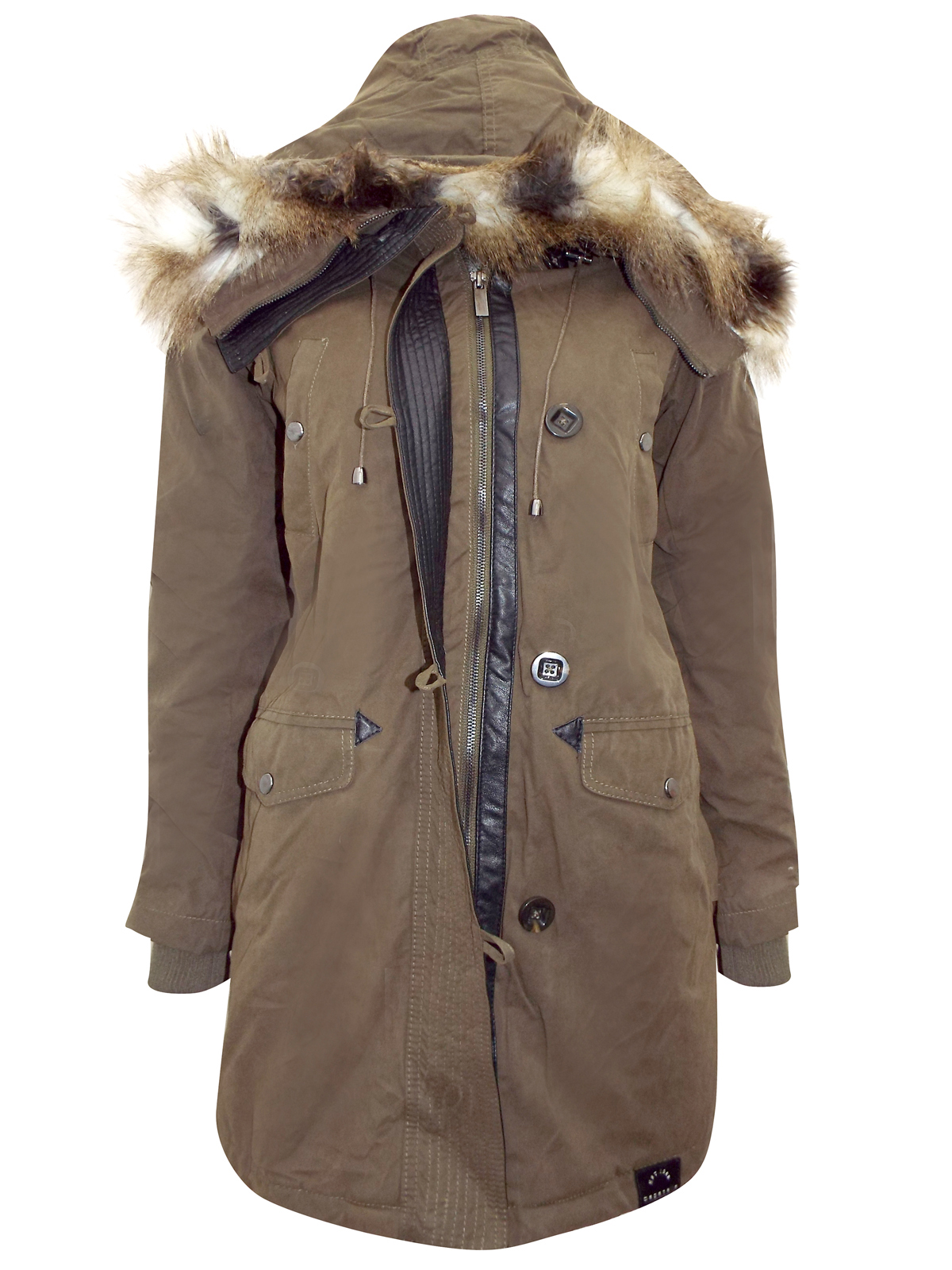 d5d6146a53 Bagatelle Heritage - - Bagatelle Heritage DARK-GREEN Hooded Faux Fur  Convertible Coat - Size Small to X