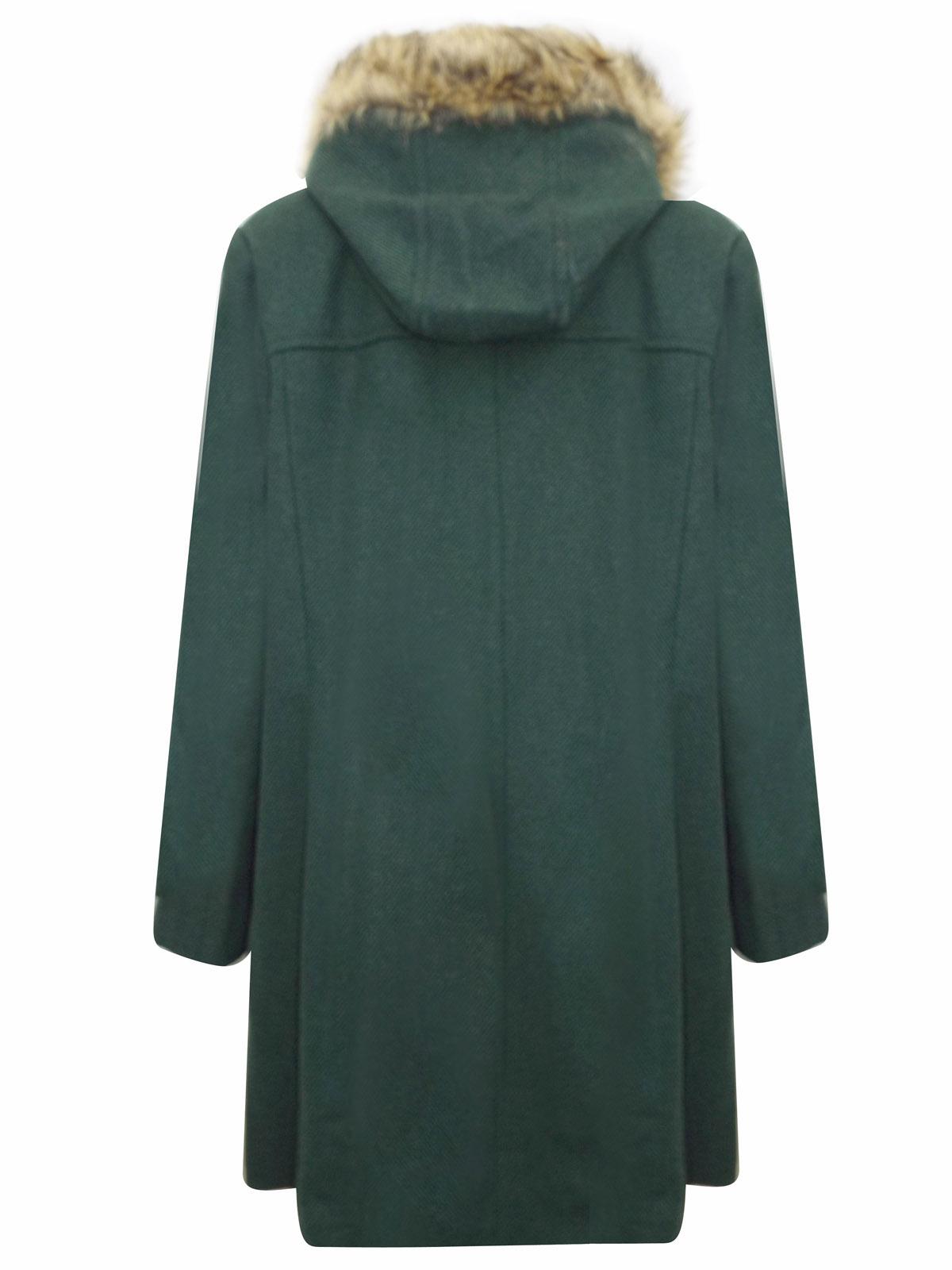GREEN Fur Hood Twill Duffle Coat Plus