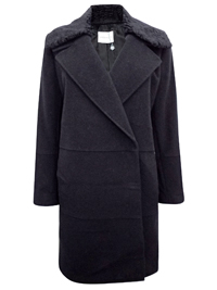 W1ndsmoor BLACK Wool Blend Coat with Detachable Crushed Faux Fur Collar - Size 10 to 24