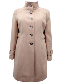 W4llis CAMEL Funnel Neck Single Breasted Midi Coat - Size 10 to 18