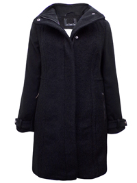W4llis BLACK Funnel Neck Textured Boucle Panelled Coat with Wool - Size 10 to 18