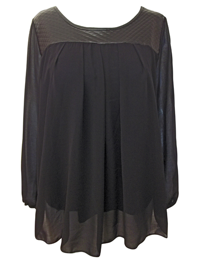 Captive BLACK Quilted Panel Chiffon Babydoll Top - Plus Size 14/16 to 26/28