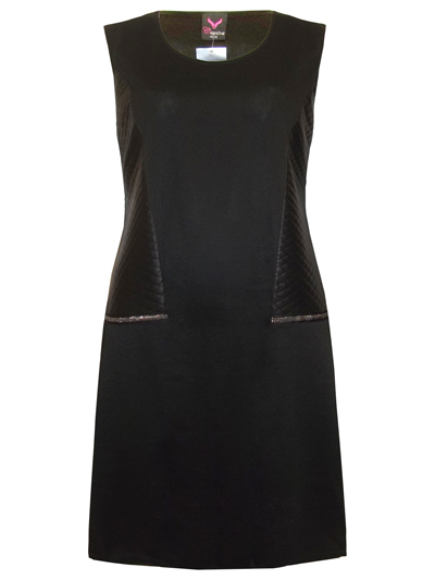 Captive BLACK Quilted Faux Leather Panel Dress - Plus Size 14/16 to 26/28