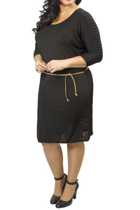 Captive Black Scoop Neck Ruched Sleeve Panel Belted Dress - Plus Size 14/16 to 26/28