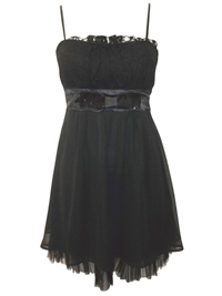 Black Pleated Lace Sequinned Bow Detail Party Dress - Size 8 to 14