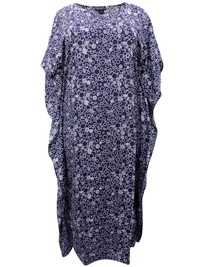 eaonplus NAVY Circle Print So Soft Kaftan Dress - Plus Size 14 to 34