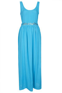 T0PSH0P Turquoise Lattice Empire Line Maxi Dress - Size 8 to 14