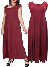 eaonplus BURGUNDY On-Off Shoulder Gypsy Tiered Maxi Dress - Plus Size 14/16 to 34/36