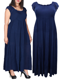 eaonplus NAVY On-Off Shoulder Gypsy Tiered Maxi Dress - Plus Size 14/16 to 34/36