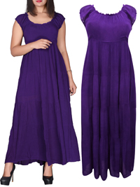 eaonplus PURPLE On-Off Shoulder Gypsy Tiered Maxi Dress - Plus Size 14/16 to 34/36