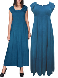 eaonplus TEAL On-Off Shoulder Gypsy Tiered Maxi Dress - Plus Size 14/16 to 34/36