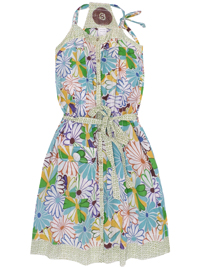 D3sigual BLUE-GREEN Floral Print Cotton Dress - Size 8 to 18 (Small to XXLarge)