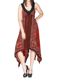 DivaCollection RED Paisley Print Dreamy Handkerchief Hem Dress - Size 10 to 22