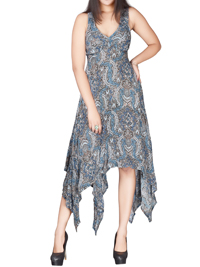 DivaCollection INDIGO Paisley Print Dreamy Handkerchief Hem Dress - Size 10 to 22