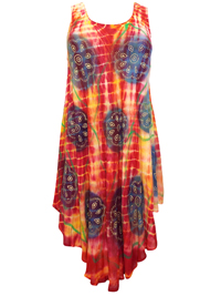 eaonplus Orange/Fuchsia Batik Tie-Dye Printed Dipped Hem Dress - Plus Size 16 to 22