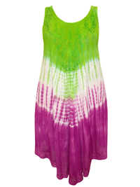 eaonplus GreenBerry Embroidered Dipped Hem Crinkle Viscose Sundress - Plus Size 14 to 34