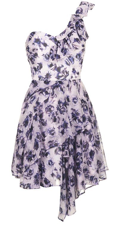 T0PSH0P PURPLE One Shoulder Rose Printed Dress - Size 4 to 16