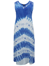 eaonplus LIGHT-BLUE Summer Crush Split Back Tie-Dye Dress - Size 1-2-3 Fits 18 to 34