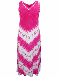 eaonplus PINK Summer Crush Split Back Tie-Dye Dress - Size 1-2-3 Fits 18 to 34