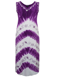 eaonplus PURPLE Summer Crush Split Back Tie-Dye Dress - Size 1-2-3 Fits 18 to 34