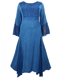 eaonplus ANTIQUE-BLUE Embroidered Panelled Bell Sleeve Dress - Plus Size 18/20 to 30/32