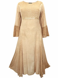 eaonplus ANTIQUE-CREAM Embroidered Panelled Bell Sleeve Dress - Plus Size 18/20 to 30/32