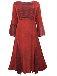 eaonplus ANTIQUE-RED Embroidered Panelled Bell Sleeve Dress - Plus Size 18/20 to 30/32