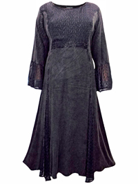 eaonplus BLACK Embroidered Panelled Bell Sleeve Dress - Plus Size 18/20 to 30/32