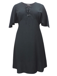 eaonplus BLACK Short Sleeve Lace Up Shift Dress - Plus Size 18/20 to 30/32