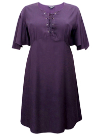 eaonplus PURPLE Short Sleeve Lace Up Shift Dress - Plus Size 18/20 to 30/32